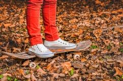 Πόδια στα παπούτσια γυμναστικής ενός νεαρού άνδρα skateboard το φθινόπωρο Στοκ Φωτογραφίες