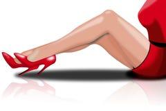 Πόδια της όμορφης νέας γυναίκας με τα κόκκινα τακούνια Στοκ Εικόνες