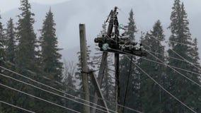 Πόλος και λαμπτήρας ηλεκτρικής ενέργειας στο δάσος στο βροχερό καιρό φιλμ μικρού μήκους