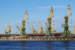 Πύί γερανοί στο θαλάσσιο λιμένα Petrolesport, Αγία Πετρούπολη Στοκ Εικόνες