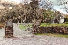 Πύλες εισόδων στη ρητορική Αγίου Finbarr ` s, ένα παρεκκλησι που στηρίζονται σε ένα νησί σε Gougane Barra, μια πολύ γαλήνια και ό στοκ φωτογραφίες