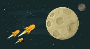 Πύραυλοι που πετούν στο φεγγάρι απεικόνιση αποθεμάτων