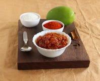 Πύραυλος αέρος-αέρος Chunda ή ακατέργαστο πιάτο κονσερβών μάγκο ινδικό χορτοφάγο δευτερεύον στοκ φωτογραφία