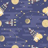 Πύραυλος, πλανήτης και φεγγάρι κινούμενων σχεδίων διαστημικός άνευ ραφής διάνυσμα προτύπων Στοκ Εικόνες