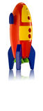 Πύραυλος παιχνιδιών Childs στο άσπρο υπόβαθρο Στοκ Εικόνες