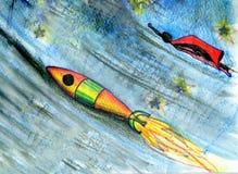 Πύραυλος στο φεγγάρι. Σχέδιο Στοκ εικόνα με δικαίωμα ελεύθερης χρήσης