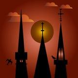 Πύργοι εκκλησιών τη νύχτα Στοκ Εικόνες