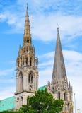 Πύργοι κουδουνιών του καθεδρικού ναού Chatres, Γαλλία Στοκ Εικόνα