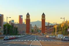 Πύργοι πανοράματος ενετικά και τετραγωνικά της Ισπανίας, στη Βαρκελώνη - ΚΑΠ Στοκ Φωτογραφίες