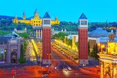 Πύργοι πανοράματος ενετικά και τετραγωνικά της Ισπανίας Placa de Espanya, Στοκ φωτογραφία με δικαίωμα ελεύθερης χρήσης