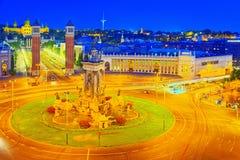 Πύργοι πανοράματος ενετικά και τετραγωνικά της Ισπανίας Placa de Espanya, Στοκ εικόνες με δικαίωμα ελεύθερης χρήσης