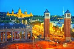 Πύργοι πανοράματος ενετικά και τετραγωνικά της Ισπανίας Placa de Espanya, Στοκ φωτογραφίες με δικαίωμα ελεύθερης χρήσης