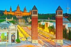 Πύργοι πανοράματος ενετικά και τετραγωνικά της Ισπανίας Placa de Espanya, Στοκ Εικόνες