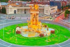 Πύργοι πανοράματος ενετικά και τετραγωνικά της Ισπανίας Placa de Espanya, Στοκ Φωτογραφίες