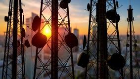 Πύργοι τηλεπικοινωνιών, τρισδιάστατη απεικόνιση στοκ εικόνα