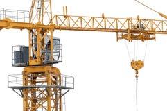 Πύργος γερανών κατασκευής στο λευκό Στοκ Φωτογραφίες