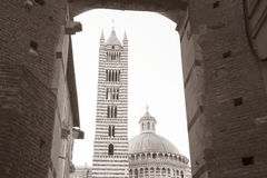 Πύργος και θόλος καθεδρικών ναών στη Σιένα, Ιταλία Στοκ εικόνες με δικαίωμα ελεύθερης χρήσης