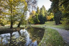 Πύργος και πάρκο Pruhonice στη Δημοκρατία της Τσεχίας Στοκ Εικόνες