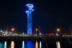 Πύργος καρφιών της Κίνας στη νύχτα Στοκ Φωτογραφία