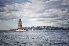 Πύργος κοριτσιών σε Bosphorus, Ιστανμπούλ στην Τουρκία Στοκ Εικόνα