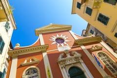 Πύργος κουδουνιών εκκλησιών Spyridonas επιβαρύνσεων, παλαιά πόλη της Κέρκυρας, Kerkyra, Κέρκυρα, Ελλάδα Στοκ εικόνες με δικαίωμα ελεύθερης χρήσης