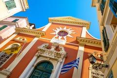 Πύργος κουδουνιών εκκλησιών Spyridonas επιβαρύνσεων, παλαιά πόλη της Κέρκυρας, Kerkyra, Κέρκυρα, Ελλάδα στοκ εικόνα με δικαίωμα ελεύθερης χρήσης