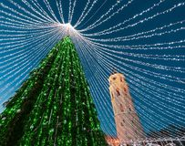 Πύργος κουδουνιών χριστουγεννιάτικων δέντρων και καθεδρικών ναών στην εμφάνιση Vilnius Στοκ Φωτογραφία