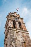 Πύργος κουδουνιών εκκλησιών στο χωριό Blato σε Korcula στην Κροατία, Medite Στοκ Φωτογραφίες