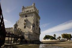 Πύργος Λισσαβώνα Πορτογαλία, ποταμός Tagus, η αρχιτεκτονική Belém φυλακών φρουρίων της ΟΥΝΕΣΚΟ αναγέννησης Στοκ Εικόνες
