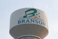 Πύργος νερού Branson με το λογότυπο Στοκ εικόνα με δικαίωμα ελεύθερης χρήσης