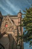 Πύργος προσόψεων και εκκλησιών φιαγμένος από τούβλα, στέγες και φυλλώδες δέντρο με το μπλε ουρανό στη Μπρυζ Στοκ Εικόνες