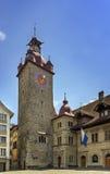Πύργος ρολογιών Δημαρχείων, Λουκέρνη Στοκ Φωτογραφίες