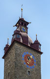 Πύργος ρολογιών Δημαρχείων, Λουκέρνη Στοκ Φωτογραφία