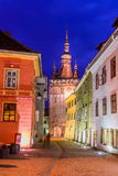 Πύργος ρολογιών σε Sighisoara τη νύχτα Στοκ εικόνα με δικαίωμα ελεύθερης χρήσης