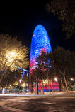 Πύργος της Βαρκελώνης Agbar νύχτας Στοκ φωτογραφία με δικαίωμα ελεύθερης χρήσης