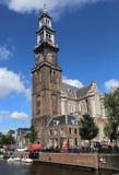Πύργος της εκκλησίας Westerkerk στο Άμστερνταμ Στοκ Εικόνες