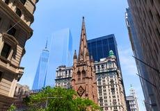Πύργος της Ελευθερίας Μανχάταν NYC εκκλησιών τριάδας Στοκ Φωτογραφία