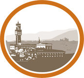 Πύργος της ξυλογραφίας Palazzo Vecchio Φλωρεντία Στοκ Φωτογραφίες