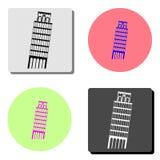Πύργος της Πίζας Επίπεδο εικονίδιο απεικόνιση αποθεμάτων