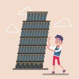 Πύργος της Πίζας με τον τουρίστα ελεύθερη απεικόνιση δικαιώματος