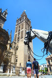 Πύργος & τουρίστες Giralda στη Σεβίλλη, Ισπανία Στοκ Εικόνες