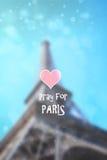 Πύργος του Άιφελ, Παρίσι, Γαλλία, Ευρώπη με το μουτζουρωμένες υπόβαθρο και τη γραφική παράσταση Στοκ Φωτογραφία