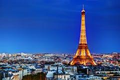 Πύργος του Άιφελ, Παρίσι, Γαλλία τη νύχτα Στοκ Φωτογραφίες
