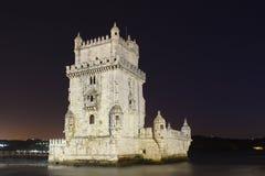 Πύργος του Βηθλεέμ τη νύχτα. Λισσαβώνα. Πορτογαλία Στοκ Φωτογραφία