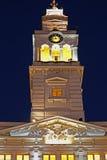 Πύργος του Δημαρχείου από την πόλη Arad, Ρουμανία, που φωτίζεται Στοκ Εικόνα