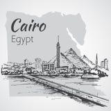 Πύργος του Καίρου στον ποταμό Νείλος - ορίζοντας, Αίγυπτος σκίτσο ελεύθερη απεικόνιση δικαιώματος