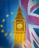 Πύργος του Λονδίνου Big Ben που συνδυάζεται με την Ευρωπαϊκή Ένωση και το Union Jack Στοκ Εικόνα