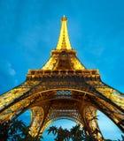 πύργος του Παρισιού νύχτας του Άιφελ Γαλλία Στοκ Εικόνες