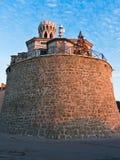 Πύργος φάρων και κουδουνιών της εκκλησίας StStephen ` s στο ακρωτήριο Madonna σε Piran, Istria Στοκ φωτογραφίες με δικαίωμα ελεύθερης χρήσης