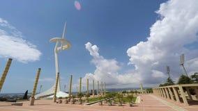 Πύργος Calatrava, Montjuic, Βαρκελώνη επικοινωνιών απόθεμα βίντεο